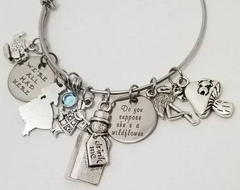 Alice in Wonderland Bracelet, Alice in Wonderland Charm Bangle, Alice in Wonderland Jewelry, Alice in Wonderland Gift