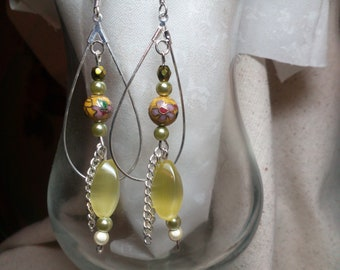 Earrings, yellow cloisonne with purple and pink and green flowers, green accent beads