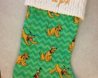 Disney Mickey Mouse Dog Pluto and Chenille Handmade Christmas Stocking with FREE U S SHIPPING