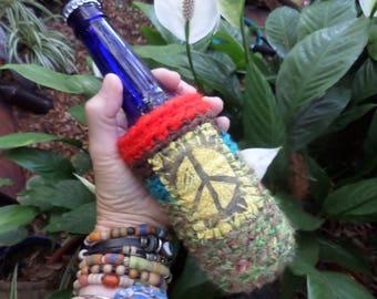 Hippie Festival, D67, beer cooler, can cooler, bottle cooler, Beer cozy, Cheers,Hippie peace, hippie crochet, boho beer, crochet beer