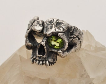 Peridot 'One Eyed Perry' Molten Serling Silver Skull Ring