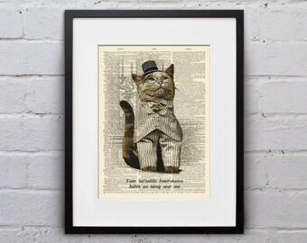I Sneer At Your Laser-Device - Victorian Cat Dictionary Page Book Art Print - DPLJ016