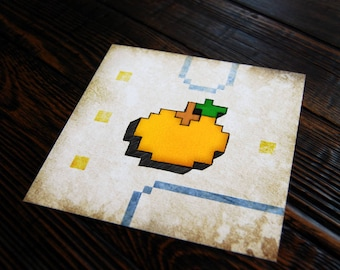 Pac Man Orange - 8 bit - video game art - retro gaming - wall art - art prints - geek art - Ready Player One