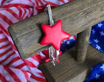 Red Howelite Star Bangle Bracelet July 4 Jewelry Independence Day Jewelry