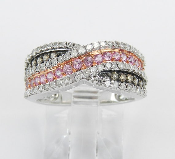 14K White Gold Pink Sapphire and Diamond Anniversary Band Wedding Ring Size 5