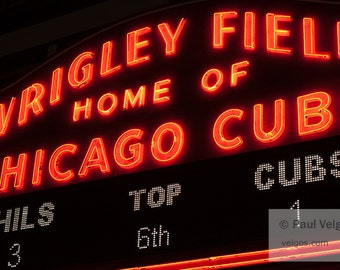 Wrigley Field Sign Art Print - Chicago Cubs Art, Chicago Canvas Prints, Chicago Home Décor, Black and White, Canvas, Metal, Wood, Framed