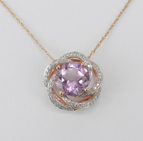 "Diamond and Amethyst Flower Necklace Solitaire Pendant 18"" Rose Pink Gold Chain"