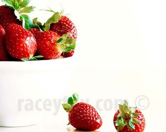Strawberries, Red, White, Food Print, Kitchen Wall Art, Food Photography