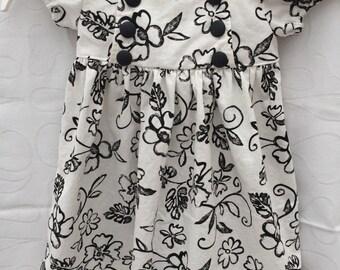 Black and white toddler dress, girls summer dress, toddler birthday dress, toddler dress size 2
