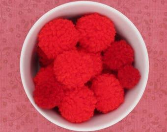 Red Pom Poms, Handmade Pom Poms, Pom Poms for Crafting, Pom Pom Garland, Craft Pom Poms, Custom Pom Poms