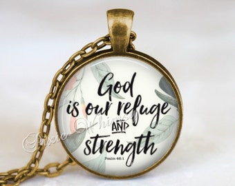 BIBLE Verse Necklace Pendant, Bible Scripture Jewelry, Psalm 46, God Is Our Refuge, Bible Verse Keychain, Christian Gift Bible Quote