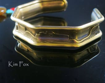 Canyonlands Octagonal Cuff in Sterling Silver and Golden Bronze designed by Kim Fox