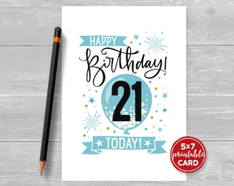 "Printable 21st Birthday Card in Blue - Happy Birthday 21 Today! - 21st Card For Him - 5""x7"" + printable envelope template. Instant Download."
