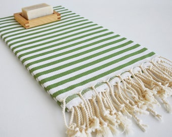 NEW / SALE 50 OFF/ Green Striped Turkish Beach Bath Towel Peshtemal / Wedding Gift, Spa, Swim, Pool Towels and Pareo