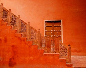 India photography, architecture, red door, staircase, wall art, travel photography