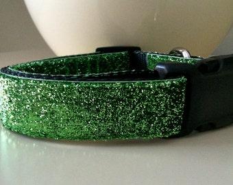 Dog Collar- Lime Green Glitter