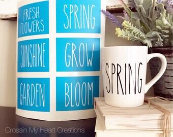 Rae Dunn Inspired Spring Stencils | Fresh Flowers, Spring, Sunshine, Grow, Garden, Bloom | Farmhouse, Coffee, Coffee Bar