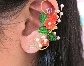 Elegant Ear Cuff - Flower Ear Cuff - Red Ear Cuff - Flower Earcuff - Nature Ear Cuff - Nature Earcuff - Bridal Ear Cuff - Cuff Earring