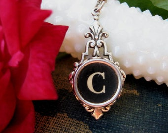 Typewriter Key Jewelry - Typewriter Key Initial Necklace Letter C