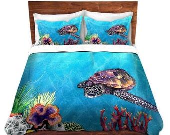 Duvet Set Sea Turtle Painting - Nature Modern Bedding - Queen Size Duvet Cover - King Size Duvet Cover