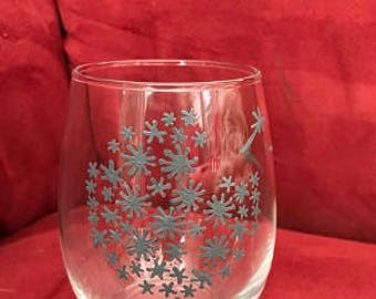 Make A Wish Hand Painted Glasses Gray
