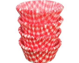 Red Gingham Baking Cups - Standard Size