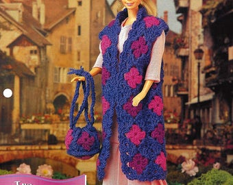 Annie's Fashion Doll Crochet Club Crochet Pattern TRAVEL TRIO - Barbie Hat, Purse and Coat - New Pattern - Designed by Deborah Levy-Hamburg