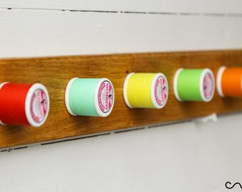 Handmade Wooden Coat Rack Unique Solid Wood Bright Colour Thread-Reel Peg Wall Mounted Coat Rack 5 Hooks