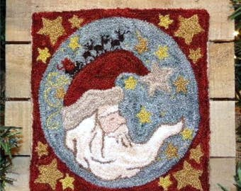PATTERN ONLY Punchneedle - To All A Goodnight..BS 100 Santa - Pre-Printed