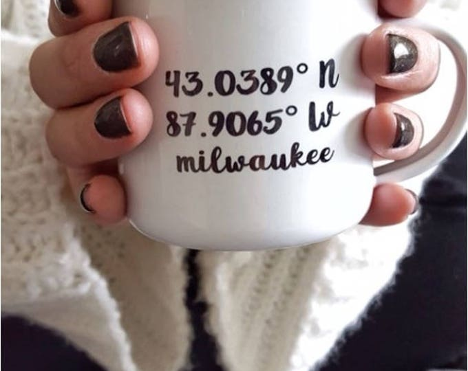 Camp Mug, Custom City Coordinates, City Love White Mug Enamel Mug
