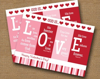 "Printable Valentine Card   Christian, Scripture, Bible Verse Valentine   DIY PRINTABLE   ""God is Love""   Instant Download"
