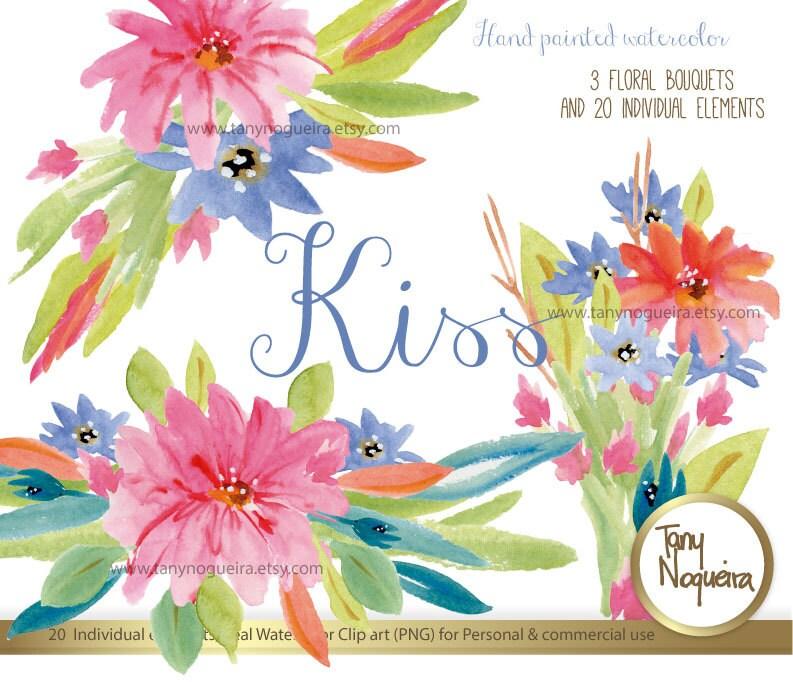 KISS, Clipart acuarela, png, Flores, Marcos, Orillas, Fondos, para ...