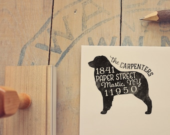 Australian Shepherd Dog Return Address Stamp, Housewarming & Dog Lover Gift, Personalized Rubber Stamp, Wood Handle