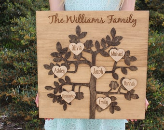 Personalized Family Tree Rustic Wood Sign