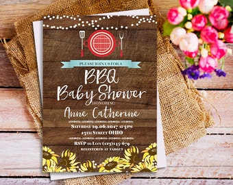 BabyQ Shower Invitation, Babyq Baby Shower, Co Ed Baby Shower Invite, Baby