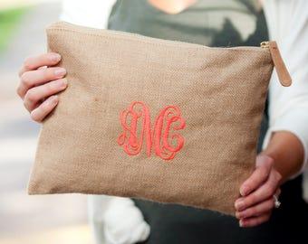 Burlap Monogrammed Zip Pouch, Personalized Cosmetic Bag, Monogram Makeup Bag, Monogram Accessory Bag, Bridesmaid Gift, Teacher Gift