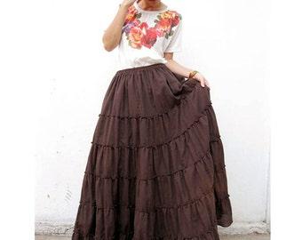 Custom Made Brown Cotton Boho Hippie Gypsy Casual Long Ruffle Maxi Skirt S-L (H)