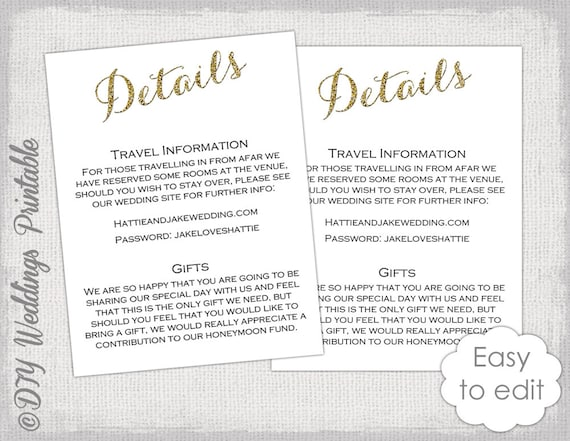 wedding hotel information card template - 28 images - handmade ...