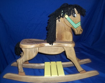 New Girls Stained Wooden  Rocking Horse