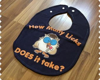 Tootsie Pop Baby Bib, Recycled T-Shirt Baby Bib, How Many Licks Does It Take, Vintage Baby, Cute Baby Shower Gift