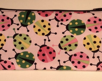 Handmade cotton pencil case / makeup bag - pink ladybirds