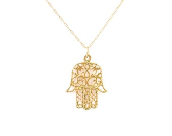 Gold Pendant, Filigree Pendant, Good Luck Charm, Hamsa Necklace, Womens Necklace, Necklace Gift, Handmade Necklace, Necklace, Womens Gift