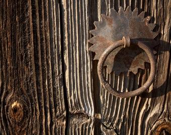 Rusty Metal Hinge, Very Aged Wooden Door, Wood Pattern, Rural Printable Photography