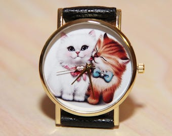 Wrist watch cats,  kittens watch , Women's  watches, children's watch, watches  girls, lovely watch, unique watch, handmade watches