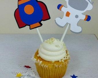 Space Cupcake Topper, Astronaut Cupcake Topper, Rocket Cupcake Topper, Space Party, Set of 12