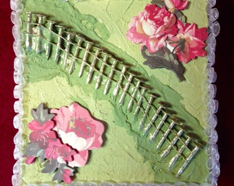 Mixed Media Collage: Flowers and Nails