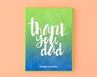 Thank You Dad Letterpress Greeting Card
