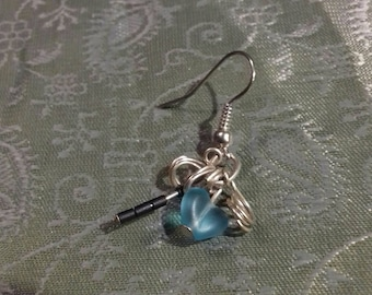 All new blue heart and wire drop earrings. One off piece.