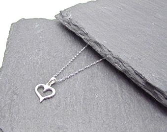 Open heart pendant on chain, Sterling Silver