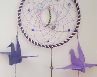 Purple Crane Dreamcatcher